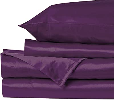 "Bedding Castle, - Luxurious Ultra Soft - Silky Satin 4 Piece Bed Sheet Set - [ Fitted Sheet 35"" deep Pocket Flat Sheet 2 Pillowcases ] - Purple, Twin XL"
