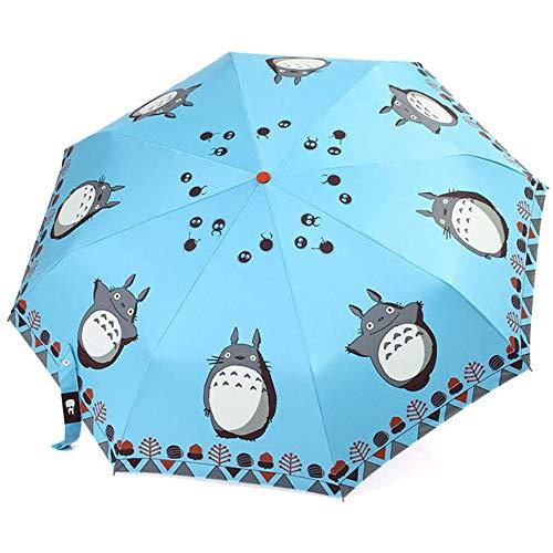 Cartoon automatische vouwparaplu telescopische paraplu anti-UV zon regen paraplu heerlijk drievoudig vouwen paraplu (blauw)