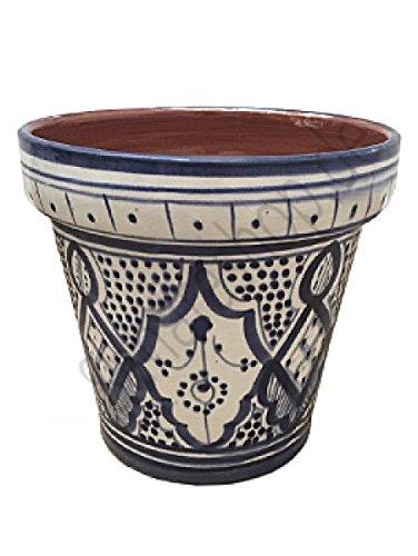 Saharashop Marokkanischer Keramik-Blumentopf Blau/Weiss 20 cm