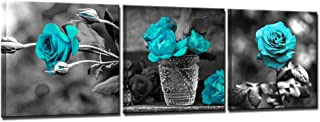 Nachic Wall- 3 Piece Wall Art for Bedroom Black and White Teal Rose Canvas Wall Art Still Life Flower Paintings Giclee Print Contemporary Bathroom Wall Decor Framed Ready to Hang