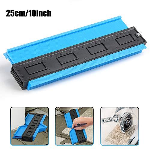 Konturenlehre, 250 mm Kunststoff Konturmessgerät Duplikator mit Skala, für Unregelmäßiges Profil, Fliesen, Laminat und Holz Messwerkzeug (10 zoll) (Blau)