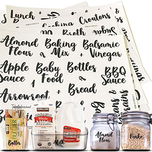Talented Kitchen 155 Cursive Pantry & Fridge Labels – Supplementary Pantry & Fridge Names – Food Label Sticker, Kitchen Pantry Labels for Containers, Jar Labels Pantry Organization and Storage