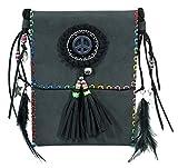 Ethno Damen Umhängetasche mit Federn und Fransen - Schwarz - Crossover Handtasche Minibag