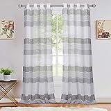 LinTimes Voile Sheer Vorhang mit Ösen Fenster Gardinen für Schlafzimmer, Streifen Muster halb durchsichtige Gardine Wohnzimmer, 2er Set,132*213cm, Grau