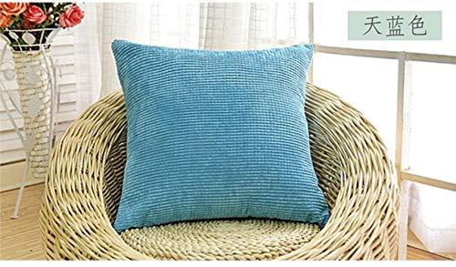 LEIXNDPLBO 2 stks zachte soild decoratieve vierkante sierkussen covers mooie korrel set kussen kussensloop voor sofa slaapkamer, hemelsblauw, 55x55 cm2 stuks