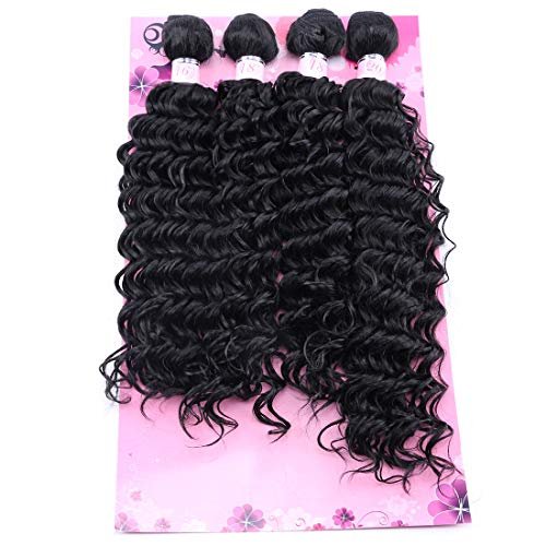 """FRELYN Deep Wave Curly Synthetic Hair Weave Extensions 4 Bundles Black Color High Temperature Heat Resistant Fiber(16"""" 18"""" 18"""" 20"""")"""