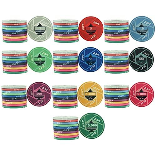 MARYYUN Chip di Poker 10g EPT Ceramica fiches di Poker Chip di Poker del Casinò (Color : Silver+Black Glass)