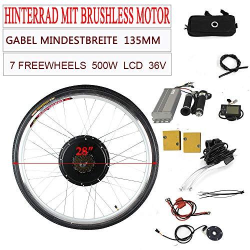 "OU BEST CHOOSE 28"" 36V 500W Hinterrad E-Bike Bicycle Conversion Kit Elektro Fahrrad Umbausatz mit LCD Display"