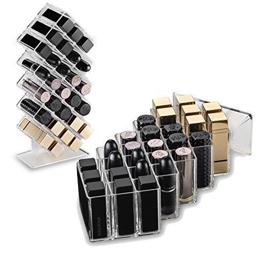 byAlegory - Support pour organisateur de maquillage en rouge à lèvres acrylique | 28 espace de rangement cosmétique Beauty Conçu pour rester à plat et être empilé rechargeable