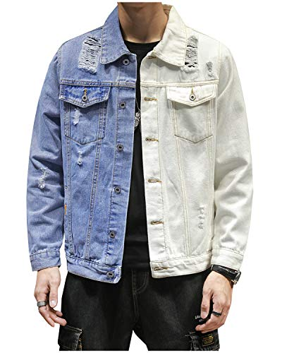LifeHe Men's Denim Jacket Distressed Ripped Patchwork Jean Jackets