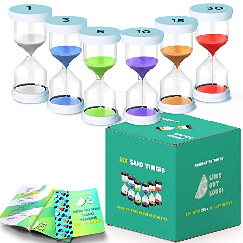 Activated Self Pack of 6 Sand Timer for Kids, 1/3/5/10/15/30 Timer for Time Management in Games, Cooking and for Home Decoration (White)