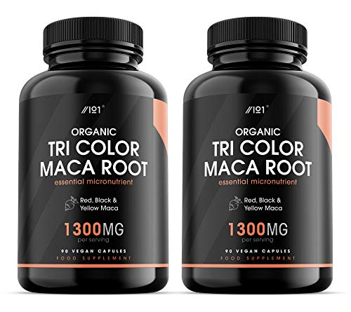 Organic Maca Root Complex - 1300mg per Serving - Tri-Colour Red, Black & Yellow Maca - Synergistic Formula, 90 Vegan Capsules (2 Pack)