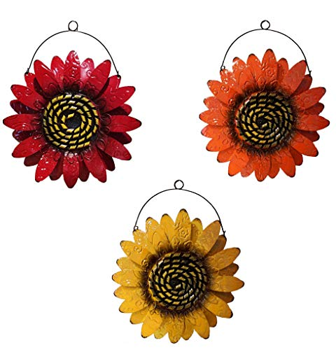 Sunflower Metal Wall Decor, One Orange, One Red, One Yellow Flower for Indoor Living Room, Bedroom, Bathroom or Outdoor Garden and Patio