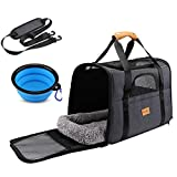 Cat Carrier Dog Carrier, Pet Travel Carrier Airline Approved for Small Dogs Puppies or Cats of 15lbs, Portable Pet Transport Bag with Adjustable Shoulder Strap + Removable Soft Cushion + Foldable Bowl