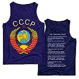 lepni.me Camisetas de Tirantes para Hombre СССР URSS Unión Soviética Bandera de Rusia y Himno (L Azul Multicolor)