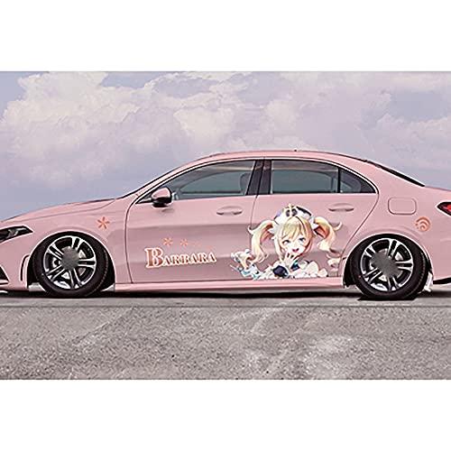Pegatina para carrocería de coche, pegatina de anime para coche, pegatina grande en ambos lados del cuerpo para Genshin Impact Barbara, pegatina de coche resistente a los arañazos para, 1 pieza