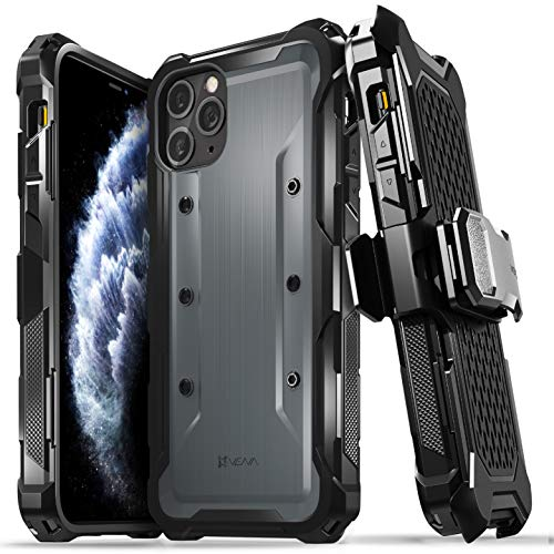 "Vena vArmor Rugged Case Compatible with Apple iPhone 11 Pro Max (6.5""-inch 2019), (Military Grade Drop Protection) Heavy Duty Holster Belt Clip Cover with Kickstand - Space Gray"