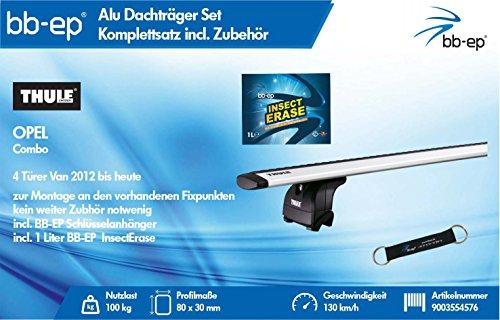 BB-EP/Thule 9003554576Productos Letter Premium de Aluminio Baca para Opel Combo 4Puertas Van...