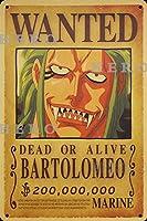 海賊アニメBARTOLOMEOバルトロメオ さびた錫のサインヴィンテージアルミニウムプラークアートポスター装飾面白い鉄の絵の個性安全標識警告バースクールカフェガレージの寝室に適しています