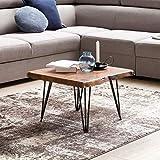 WOHNLING Design:ouchtisch MAHILO Massivholz Tisch Baumkante 56 x 38 x 51 cm | Sheesham Holztisch mit Metallbeinen | Wohnzimmertisch im rustikalen Landhausstil - 2