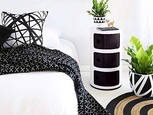 Costello® Weißer Kommoden-Nachttisch, Beistelltisch mit 2, 3, 4, 5 Modulen, moderne Möbel, Behälter, Componibili 3 Etagen, Weiß / Schwarz
