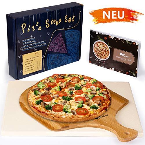 amzdeal Pizzastein, Pizza Set mit Pizzastein für Backofen in Cordierite, Bambuspizzaschaufel und Rezept, Kochwerkzeug für Ofen, Grill und Kochfeld, Exquisite Verpackung