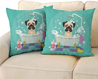 QIAOQIAOLO Pack of 2 Indoor Pillowcase Nursery Decor Collection Double-Sided Printing 14x14 inch Pug Dog in Bathtub Grooming Doggy Puppy Salon Service Shampoo Rubber Duck Pets Cartoon Image Teal
