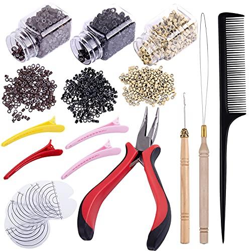Duufin Microrings Extensions Set, 1500 Stück Microringe für Extensions Microring Zange Zughaken Nadel Haarspange und Kamm, Microring Set für Haarverlängerung Extensions Zubehör