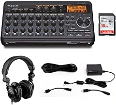 Tascam DP-008EX 8-Track Digital Pocketstudio with Tascam PS-P520E AC Power Adapter, Polsen HPC-A30 Headphones & 16GB Memory Card Bundle