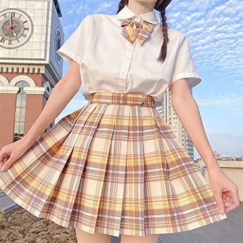 JIANMIN Harajuku Jupe japonaise pour femme Taille haute Uniforme scolaire plissée A-Line Mini jupe à carreaux Harajuku Preppy (couleur : SCGQ, taille : S)