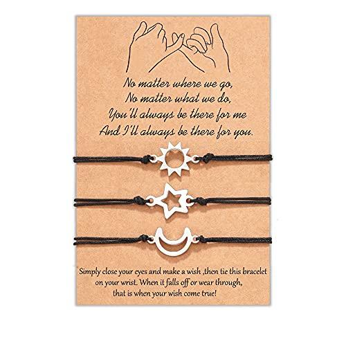 Tarsus Friendship Bracelet, Pinky Promise Unbiological Sister Bracelets Distance Matching Jewelry Gifts for 3 Women Best Friends Girls Teens