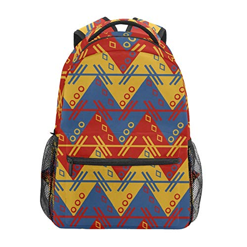 School Backpack Vintage Geometric Zig Aztec South American Casual Travel Laptop Daypack Canvas Book Bags for Woman Girls Boys Student Adult Men
