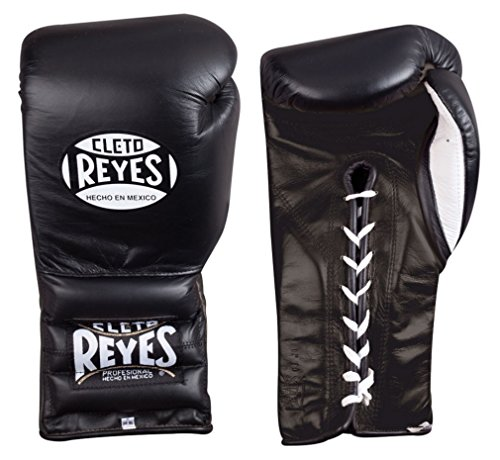 CLETO Reyes Klettverschluss Sparring Handschuhe–Schwarz Reyes Leder Boxhandschuhe 453,6 g (16 oz)