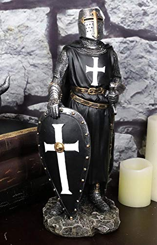 Ebros Gift Holy Wars English Black Cloaked Crusader Knight of The Cross with Sword and Shield Statue 11' Tall Suit of Armor Warrior Swordsman Templar Knights Sculpture