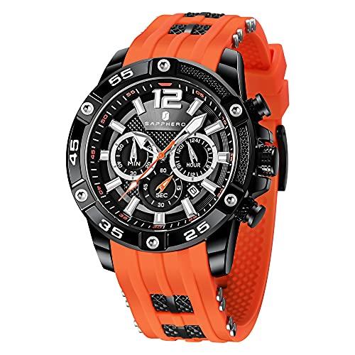Relojes Hombre SAPPHERO Cronógrafo Multifunción Relojes para Hombres Correa De Silicona 3ATM Impermeable Movimiento De Cuarzo Analógico Moda Negocios Deportes Diseño Regalo para Hombres