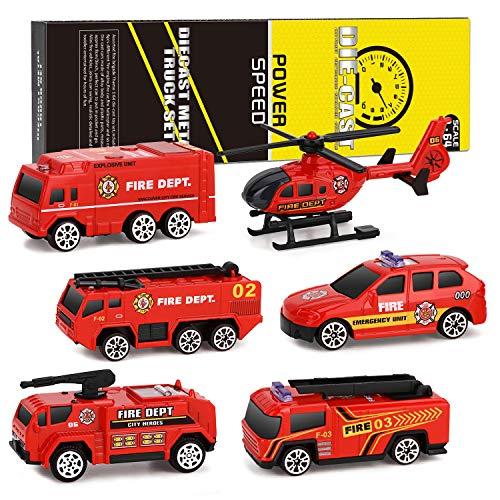 XDDIAS Camion dei Pompieri Modelli, 6 Pcs Lega Modello Veicoli Giocattolo Set, Mini Auto Scala Elicottero Auto di Pattuglia Educativo Regalo per Bambini 3 Anni