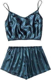 E-girl Conjunto de pijama para mujer, 2 piezas, pelotas, pantalones cortos de pijama de fibra regenerada, suave, ropa de d...