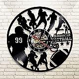Zhuhuimin Football américain NFL Disque Vinyle Veilleuse Horloge Joueur de Rugby Mur Art Déco Jeu Sport Athlète Garçon Cadeau