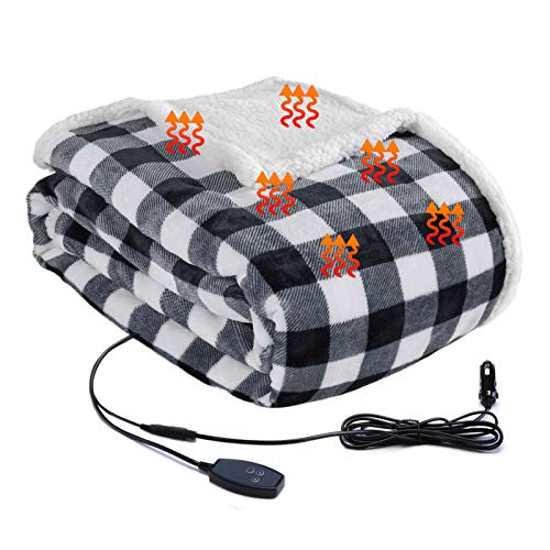Big Ant 12V Electric Car Blanket, Heated Travel Blanket Throw Blanket for Car Auto Supplies RV, 30 Minutes Heating Timing Function, Easy Controller Heating Blanket for Driving(Black and White)