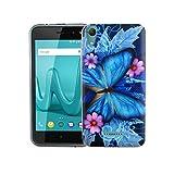 König Design Handy-Hülle kompatibel mit Wiko Lenny 4 Silikon Hülle Hülle Sturzsichere Back-Cover Handyhülle - Blauer Schmetterling
