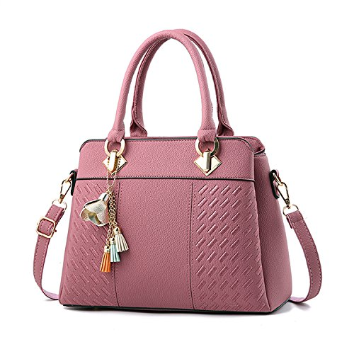 GOOD QUALITY: The shoulder tote bags made of premium PU leather and polyester lining, very durable and fashionable. ALL-MATCH AND PRACTICAL: Simple styling and flower pendant deco make the satchel easy to match any kind of outfits. No matter you are ...
