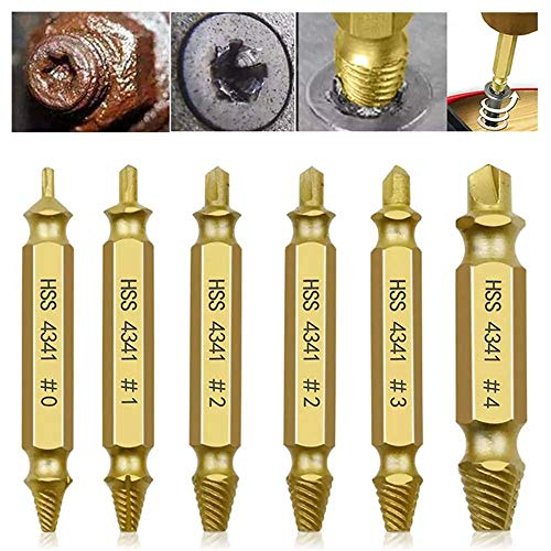kathshop 6pcs Damaged Screw Extractor Drill Bits Guide Set Broken Speed Out Easy out Bolt Screw (Gold)