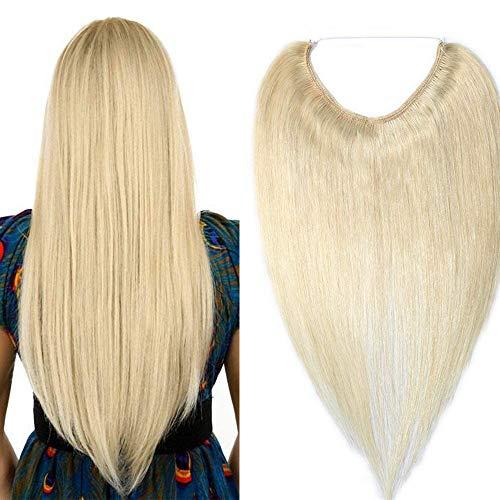 Invisibile Capelli Veri Extension con Filo Fascia Unica 100% Remy Human Hair 60 Biondo Platino 40cm 60g