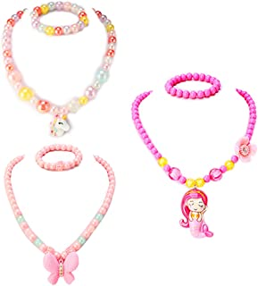 PinkSheep Kids Beaded Necklace and Bracelet 3 Sets, Butterfly Unicorn Necklace and Bracelet 3 Sets, Party Favors Bags for Kids