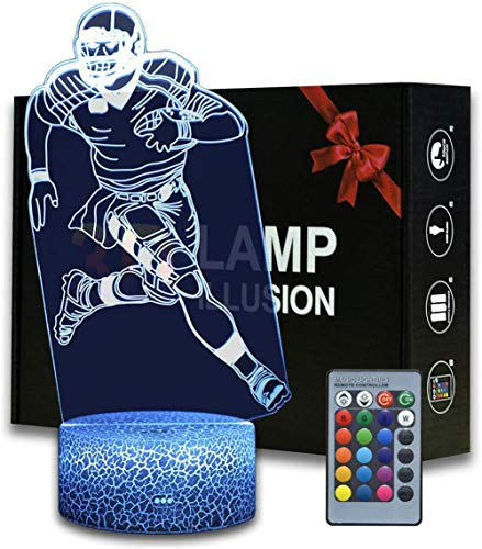 3D Illusion Lamp 3D Night Light Rugby Player NFL Fan USB Powered 16 Colours Flashing Touch Switch Bedroom Decoration Lighting for Kids Christmas Gift