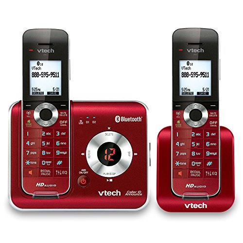 VTech DS6421-26 2-Handset Dect 6.0 Cordless Phone with Bluetooth Connect to Cell, Digital Answering System and Caller ID, Expandable Up to 12 Handsets, Red