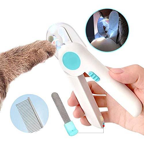 Leilims Hund Katze Nagelknipser und Trimmer, mit Sicherheits-Schutz-und LED-Leuchten, Versteckt Nagelfeile, Free Pet Stahlkamm