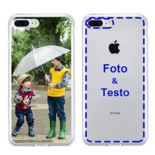 MXCUSTOM Cover Personalizzata per Apple iPhone 7 Plus / 8 Plus, Custodia Personalizzate con Foto Immagine Testo Design Crea Le tue [Paraurti Morbido Trasparente+Piastra Posteriore Rigida] (CHT-CR-P1)