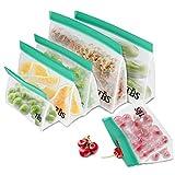 Fstoption Bolsas para Llevar Comida y sándwiches, 6 Pcs Bolsa de Almacenamiento Reutilizable para Fruta Verdura Carne Nevera Cocina Viaje (6pcs)