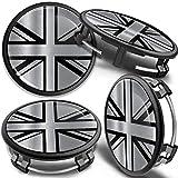 SkinoEu 4 x 75mm Tapas de Rueda de Centro Centrales Llantas Aluminio Compatibles con Tapacubos Mercedes Benz B66470207 / B66470200 Bandera del Reino Unido UK CM 30